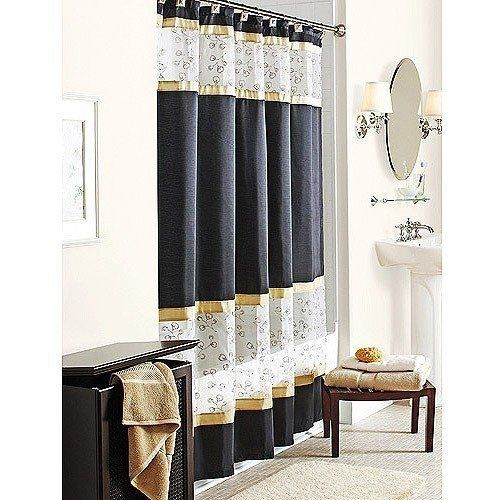 Spice Garden Fabric Shower Curtain Black Gold W Sheer White Embroidered Amazon Home Kitchen