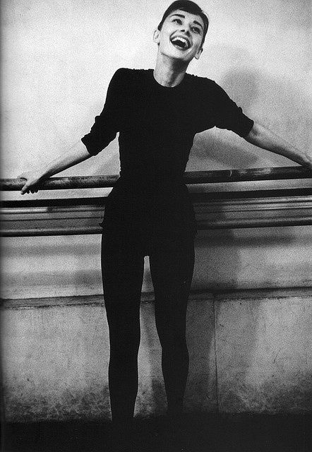 """✯ Audrey Hepburn: France. Paris. 1956. Dutch actress Audrey Hepburn during ballet rehearsal for the film """"Funny Face.""""   Photo: David Seymour .. By Fred Baby ✯"""