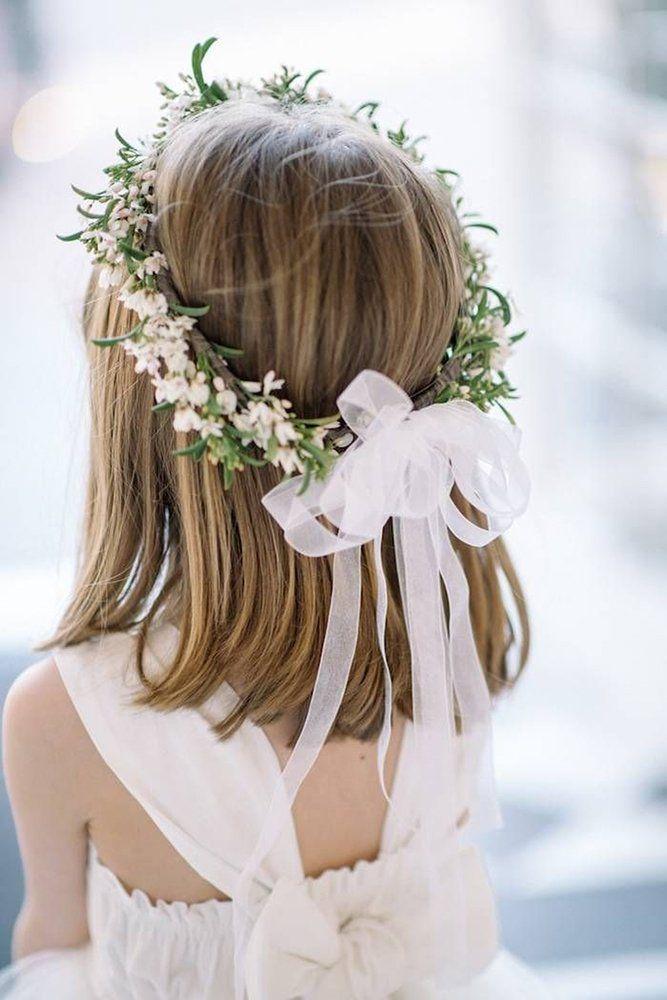 39 Flower Girl Hairstyles For Little Cutie ❤ flower girl hairstyles with white flowers and greenery crown and sean money elizabeth fay #weddingforward #wedding #bride #flowergirlhairstyles