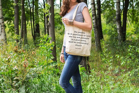 canvas handbag tote, Jane Austen Tote Bag, Pleasure in a good novel book quote grocery bag canvas, everyday large bag, literary tote