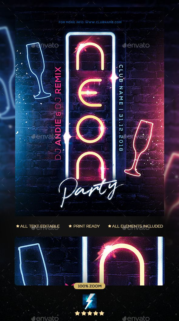 Neon Party Flyer Template PSD | Flyer Templates | Neon party