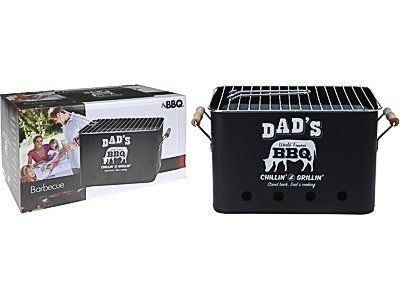 Dad's Rectangular Retro Tabletop Portable BBQ Barbecue Charcoal Grill for Camping and Outdoor Use - Great Gift For Father's Day, Birthdays, Christmas