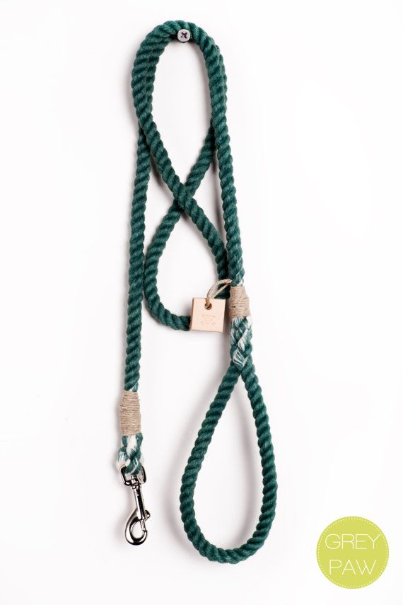 Rope dog leash pet supplies dog collar dog lead: Small or medium forest green cotton rope leash  All leashes are made from locally sourced materials from Portland, Oregon. - Handmade & hand dyed cotton rope leash - Cotton rope whipped with waxed hemp string - 50-55 inches long - Your choice of silver zinc or brass swivel clip - Please note that some color & length variation may occur  Small 1/4 rope Medium 3/8 rope  All leashes are made with the traditional eye splice loop c...