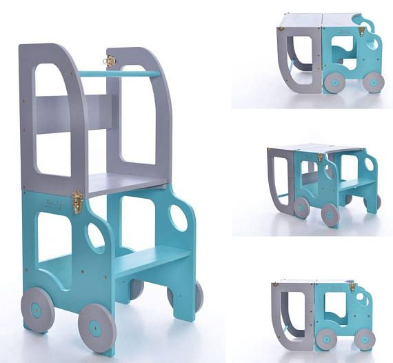 Montessori kitchen helper which can be easily transformed to table and chair is designed and created for learning, cooking, climbing, sitting next to the large family table and eating or just playing. And what is the most excitatory that this kitchen helper looks like a toy and it can