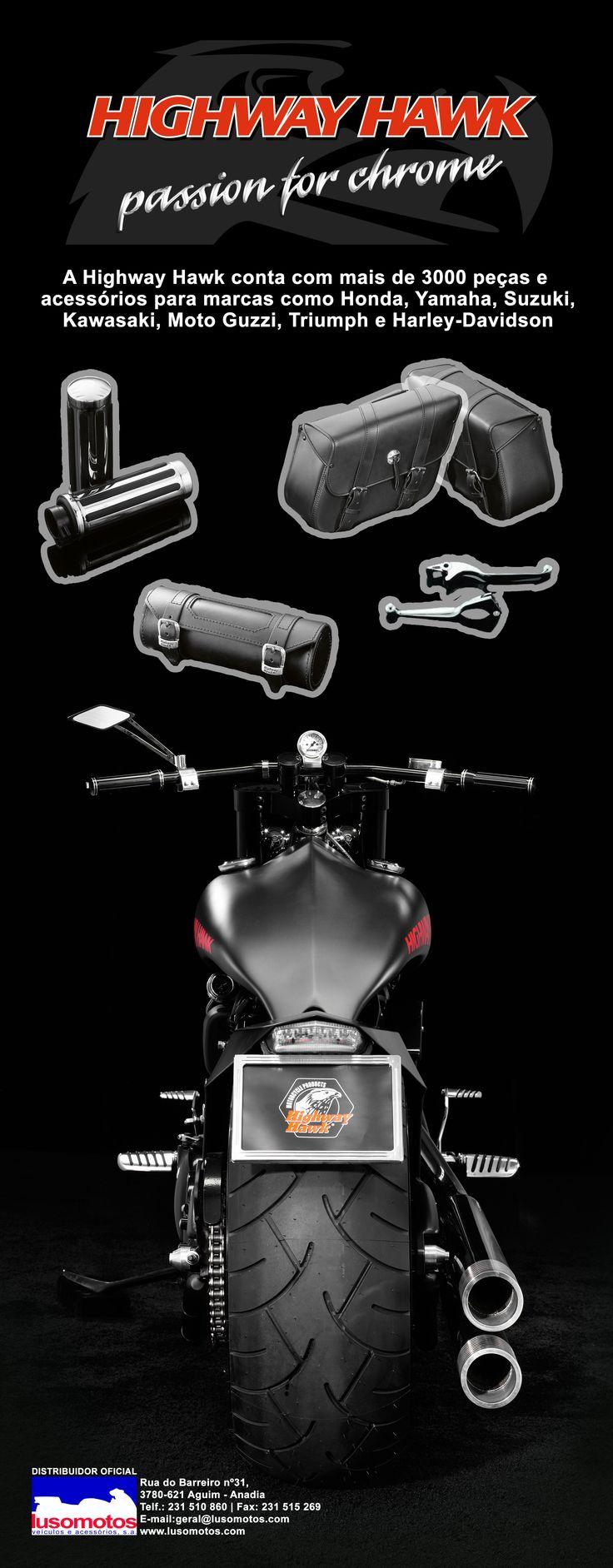 HIGHWAY HAWK || A Lusomotos tem à disposição dos seus clientes os produtos da Highway Hawk, que conta com mais de 3000 peças e acessórios para marcas como Honda, Yamaha, Suzuki, Kawasaki, Moto Guzzi, Triumph e Harley-Davidson (entre outras).  #lusomotos #highwayhawk #peçaseacessórios #honda #yamaha #suzuki #kawasaki #motoguzzi #triumph #harleydavidson #estilodevida