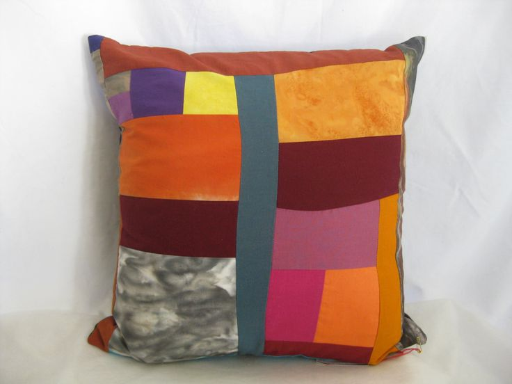 Modern cotton batik one of a kind decorative pillow cover, cotton artsy abstract pillow, funky home decor, artsy handmade bright pillow by thelavenderpear on Etsy