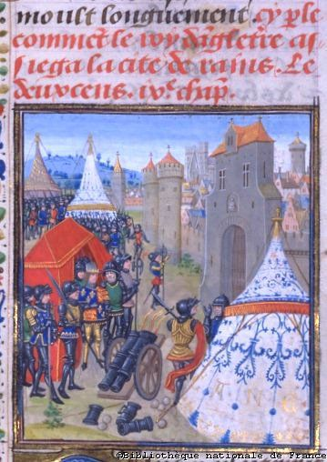 Edward III of England besieging Reims (1359/60) (BNF, FR 2643), Jean Froissart, Chronicles in the Bibliothèque Nationale de France (BNF), http://www.bnf.fr/enluminures/aaccueil.htm  Greydragon notes: In the Edward III picture, there is no way the tent in the foreground could have the shape and structure using only the ropes and angles indicated.
