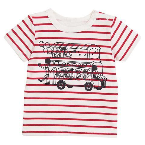 線画タッチバスプリントボーダー半袖Tシャツのレッド80cm(33.5・27.5・9.5)の通販なら赤すぐ