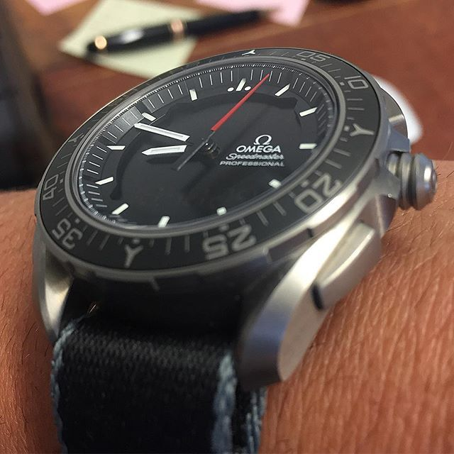 We also have one in stock - Here's my own Titanium Speedmaster X-33 fitted with one of our new Omega Style NATO straps, the grey edging goes great with the titanium of the watch  watchmania #watchaddict #watchphotography #watchoftheday #wristcheck #watchesofinstagram #watches #watchlover #timepiece #watchpics #watchcommunity #rolexero #speedmaster #omega #moonwatch #watchfamasia #thewatcherist #nato #strap #wrist #moon #moonwatch #moonlanding #space #nasa #x-33 #x33 #skywalker…