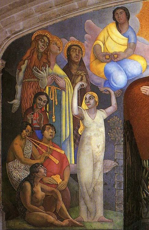 Creation detail by diego rivera dec 8 1886 nov 24 for Diego rivera creation mural