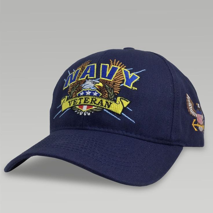 Be ready to boast your passionate Navy pride with this classic Navy Veteran Design! ul> Made in the U.S.A. 100% Cotton Twill One size fits most Adjustable Velcro strap in back Embroidered Navy design on front and US Navy Eagle on left side