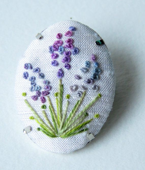 Oval silk embroidery purple blue pink french knot lavender brooch on silk by MargDierEmbroidery