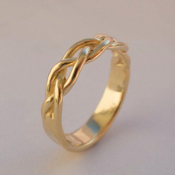 Umflochten 14K Stapel Ring Ehering 14K Gold Ring von doronmerav, $650.00