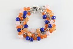 Cascade of Pearls Bracelet (orange, pink, blue)
