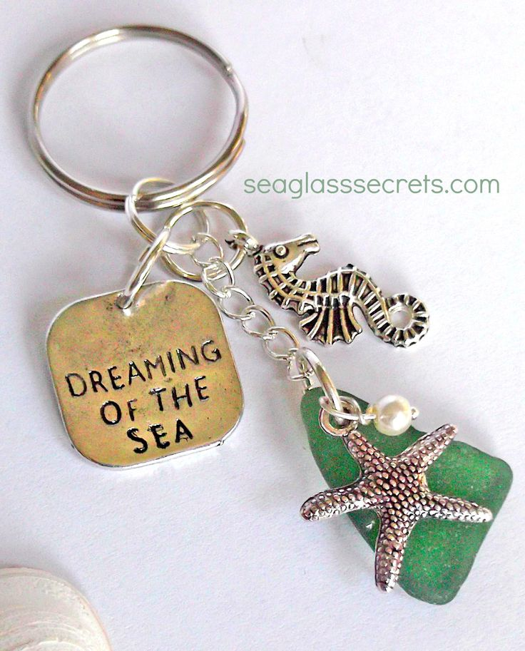 Seaglass jewelry and key rings by seaglass secrets. Genuine seaglass from England: https://www.seaglasssecrets.com $15.95