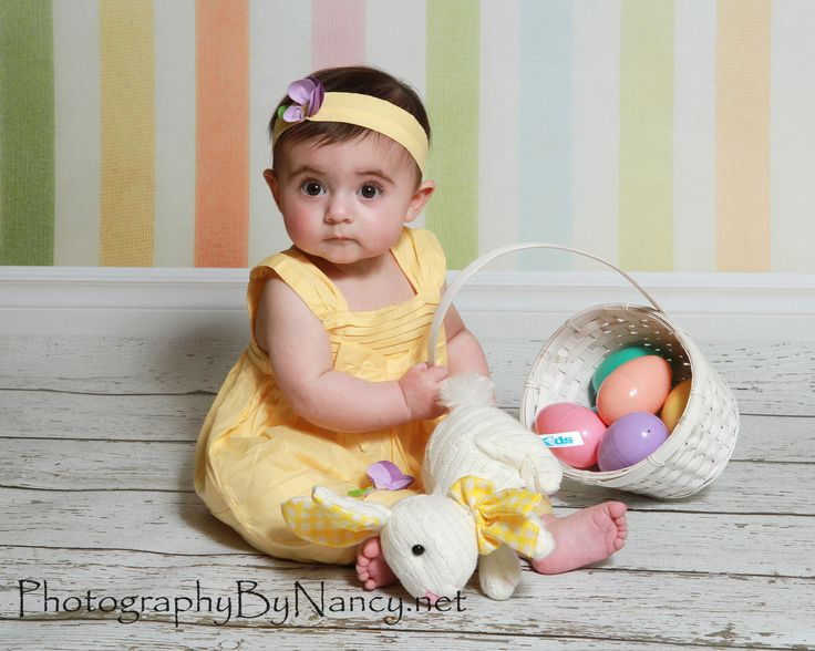 Baby girl easter basket egg bunny picture portrait photo six month baby girl easter basket egg bunny picture portrait photo six month old stripe vinyl backdrop my indoor portrait photography pinterest portrait photo negle Image collections