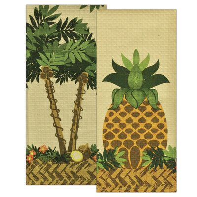 Design Imports 2 Piece Tropical Prints Dishtowel Set