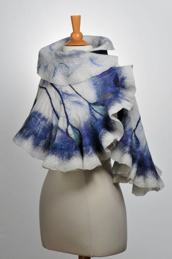 Nuno felted scarf wrap / handfelted / merino wool More