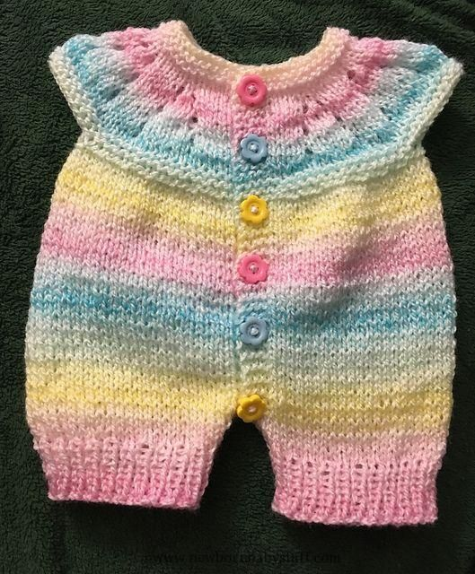 Baby Knitting Patterns Craft Passions: All-in-One Romper Suit..# free #knitting pat...