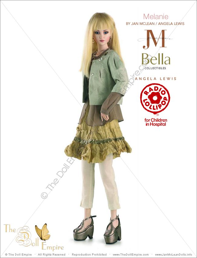Melanie by Jan McLean Doll Artist and Angela Lewis Fashion Designer - Bella Collectibles - New Zealand Radio Lollipop Charity Auction