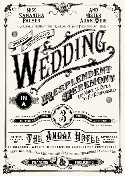 Love this wedding invitation! Looks like a circus poster from the 30s and 40s. See more Nerdy Wedding Invitations on this page.