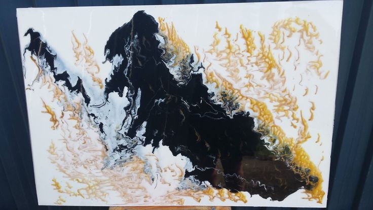 """600x900 acrylic with clear epoxy resin """"Gold Vein"""" SOLD"""