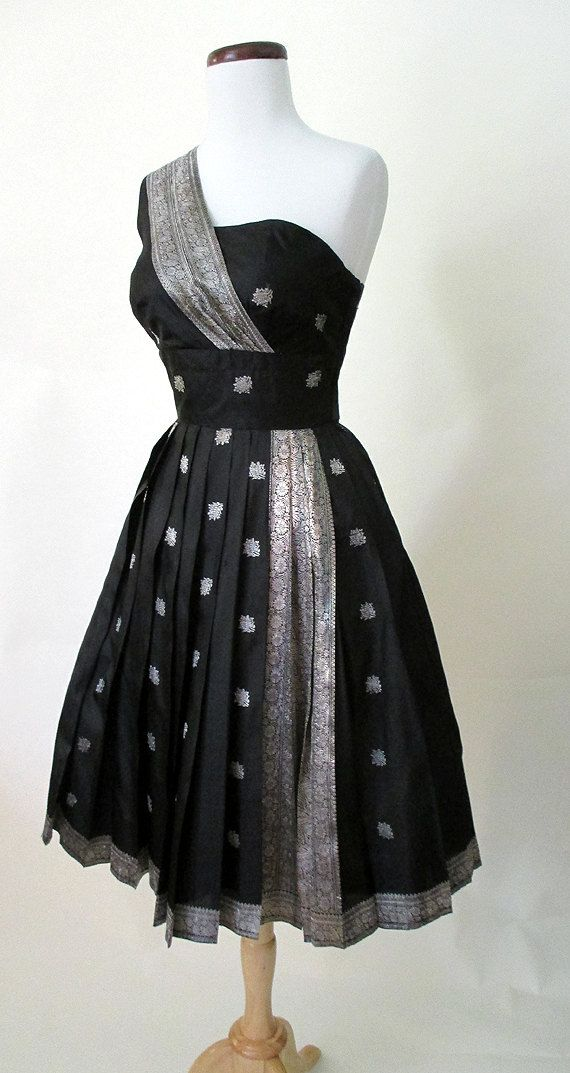 1950s Cocktail Dress w/ Indian Sari Motif