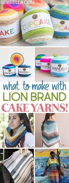 Padrões de tricô e crochê com fios de bolo de marca de leão