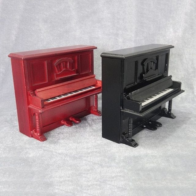 Popular Miniature Birch Wood Grand Piano for 1:12 Dollhouse Decoration