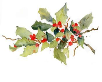 Holly berries in Watercolor - kristtjørn - jul - christmas