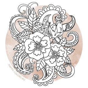 60 раскрасок антистресс с цветами - самые медитативные и ...