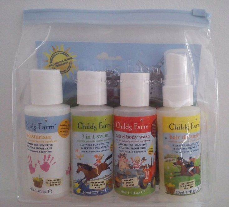 Childs Farm Baby Gift Set. Moisturiser, 3-in1 Swim, Hair + Body Wash, Detangler.
