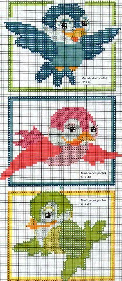 Ponto cruz pássaros