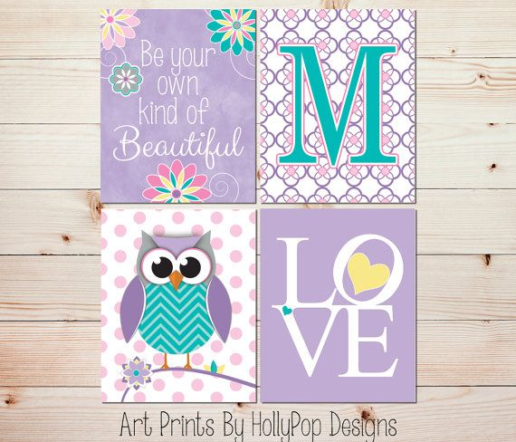 Nursery wall art girls room decor girl owl art girl for Baby owl decoration
