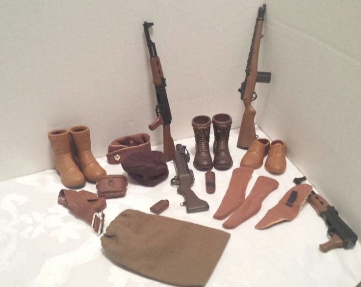12 inch Military Action Figure Accessories Brown Socks Boots Hats Canteen lot#3