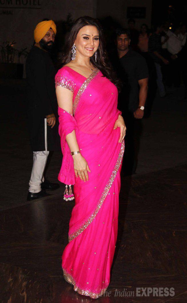 Preity Zinta at Shahid Kapoor and Mira Rajput's wedding reception. #Bollywood #ShahidMiraReception #ShahidKiShaadi #Fashion #Style #Beauty #Classy #Saree #Hot #Desi