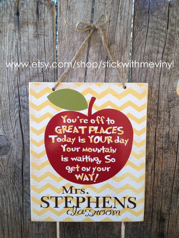 PERSONALIZED with teachers name sign Dr SEuSS quote school gift end of the year christmas teacher appreciation thank you classroom sign