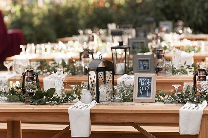 Rustic diy long table centerpieces k and k photography for Long table centerpieces