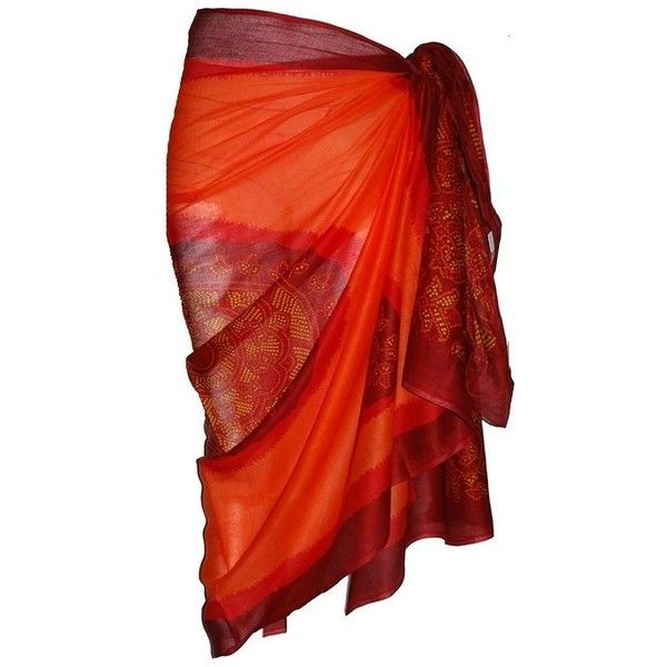 Orange Sarong with Bandana Design ($15) ❤ liked on Polyvore featuring swimwear, cover-ups, accessories, beach, sarong, skirts, swimsuit, sarong swimsuit cover ups, sarong swimsuit and beach cover ups