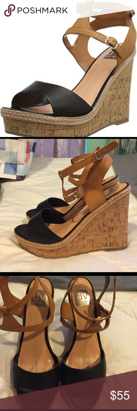 DV by Dolce Vita Women's Jesper Wedge size 9 Worn only once to a wedding. DV By Dolce Vita Jesper Wedge in Black and Tan. Very comfortable and matches all outfits. Perfect for spring. DV by Dolce Vita Shoes Wedges
