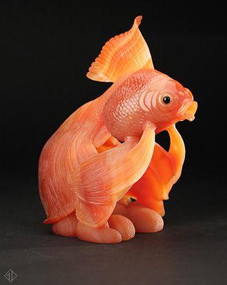 Dreher Idar Oberstein: Carnelian Gold Veil Tail Fish
