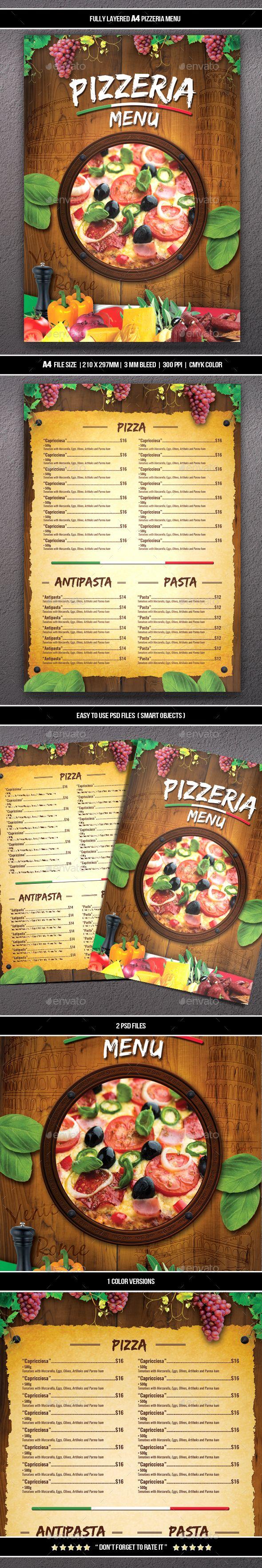 #Pizzeria Menu (A4) - #Food Menus Print Templates