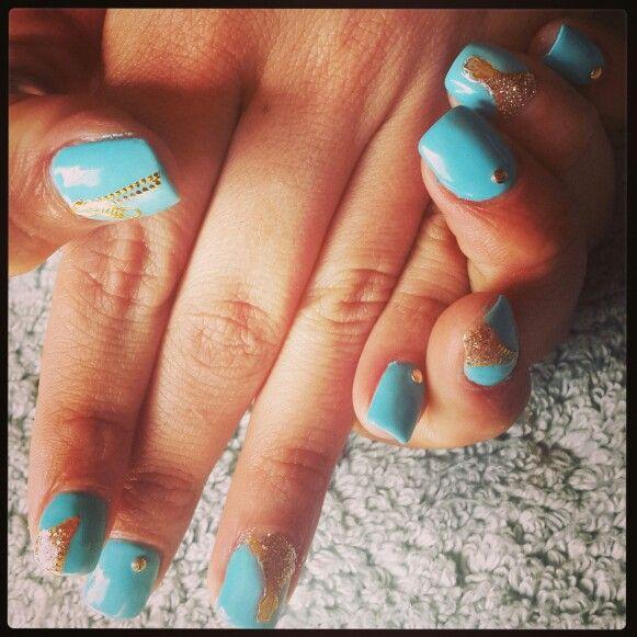 #blue#zips#gold#studs#glitter#gelish#gelit #barrettkirsten