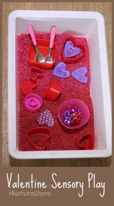 Valentine sensory tub for babies and toddlers, in four easy steps, using things you already have. Fun, simple play.   NurtureStore