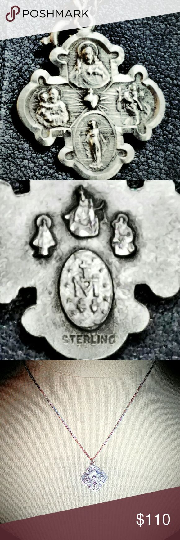 VTG Sterling St Christopher St Joseph Necklace Vintagr Sterling Silver St Christopher St Joseph Cross Medal Pendant Necklace. This is a great vintage religious Catholic Medal with special Cherished Saints; Virgin Mary - Saint St. Christopher. - Saint St. Joseph, and Sacred Heart are the special saints on the cross.On backside: There are also four different illustrations. Marked Sterling on pendant & necklace. Excellent vintage condition. Vintage Jewelry Necklaces