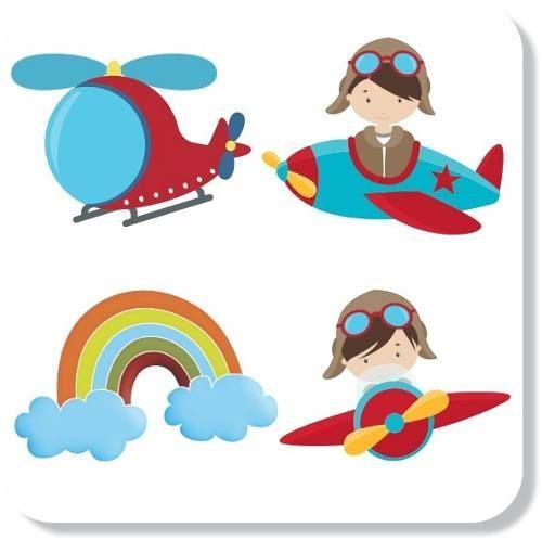 adesivos parede infantil aviador avião nuvens frete grátis