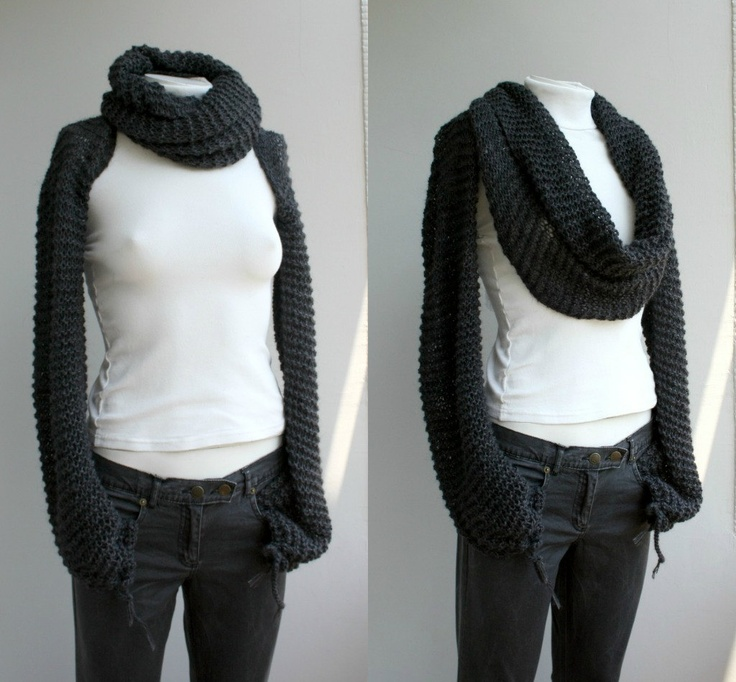 Knitting Pattern Scarf With Sleeves : Hand Knitted Long Sleeves Charcoal Wrap Bolero Shrug Over Size With Scarf / K...