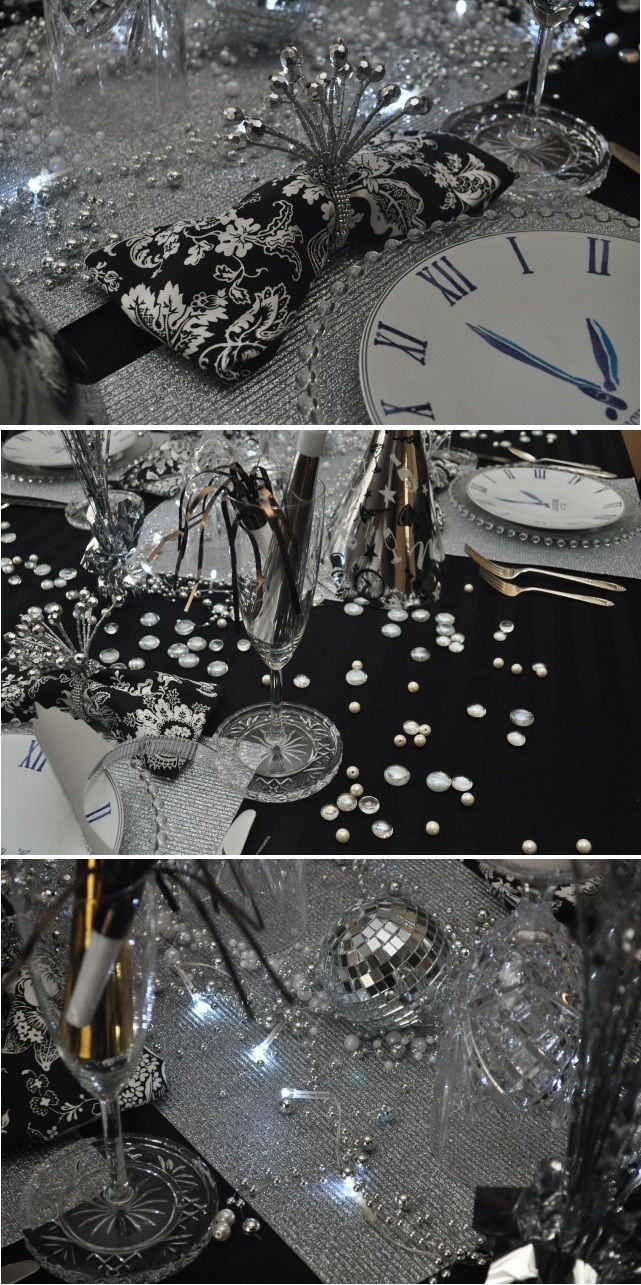 Silver New Years Eve Table Theme. Find everything you need to decorate your table at any Dollars and Cents store.