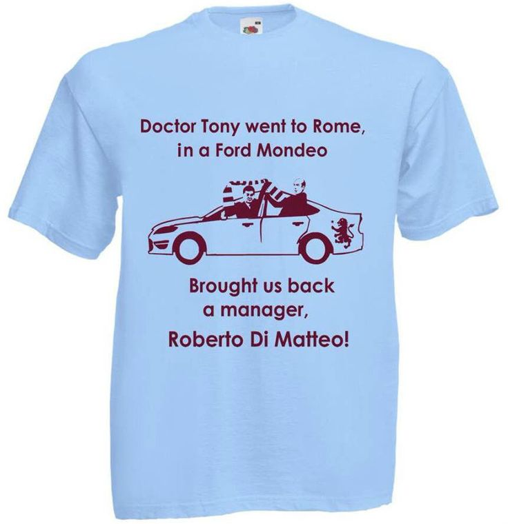 ASTON VILLA DR TONY WENT TO ROME ROBERTO DI MATTEO CLARET AND BLUE ARMY T-SHIRT