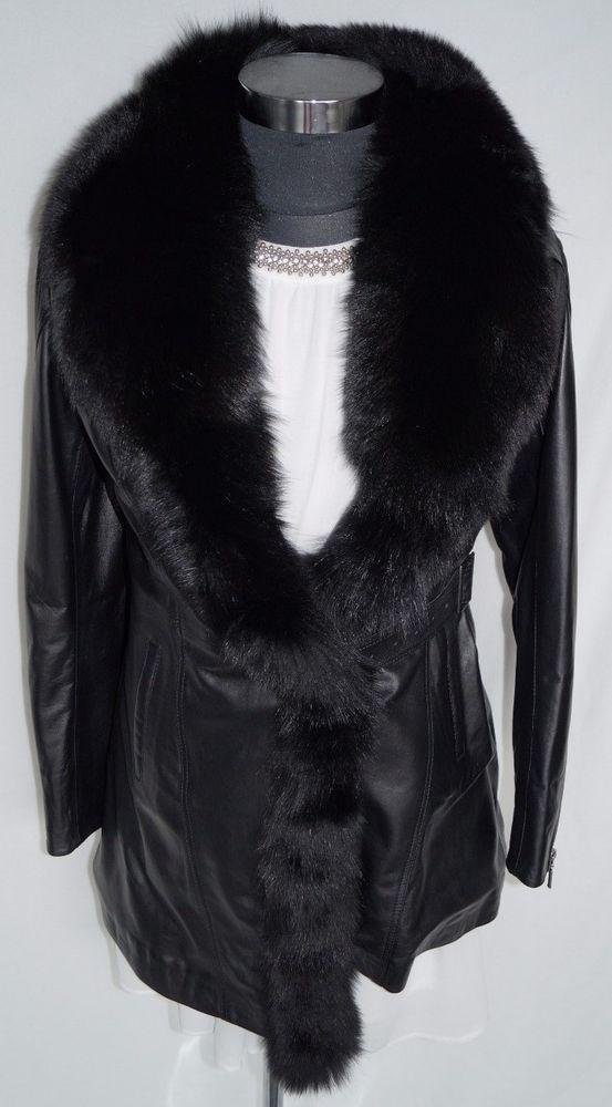Lammleder Mantel mit Fuchskragen in schwarz Gr. XL
